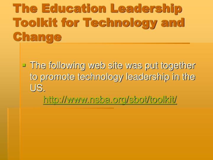 The Education Leadership Toolkit for Technology and Change