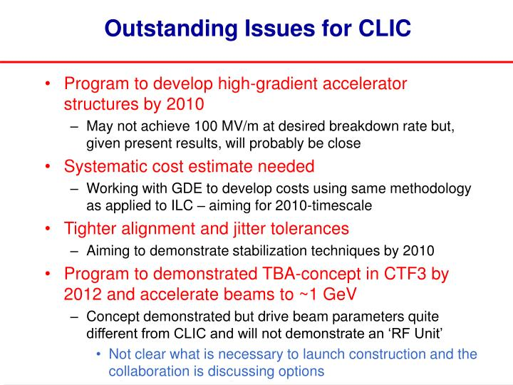 Outstanding Issues for CLIC