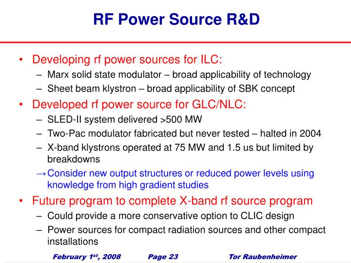 RF Power Source R&D