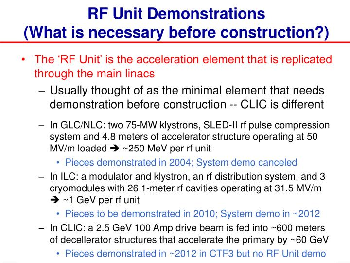 RF Unit Demonstrations