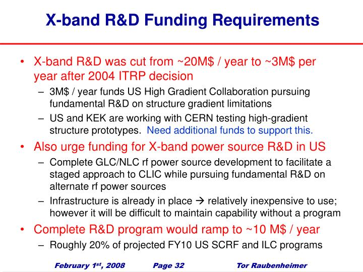 X-band R&D Funding Requirements