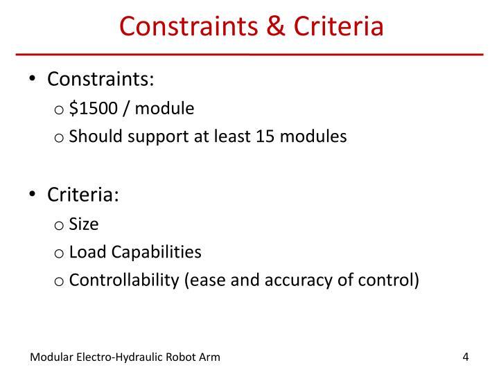 Constraints & Criteria