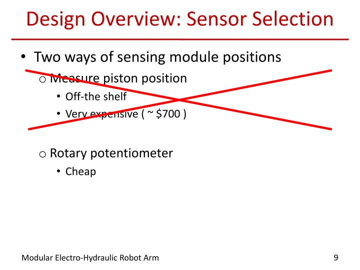 Design Overview: Sensor Selection