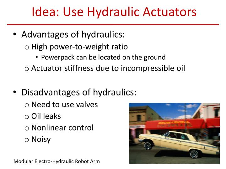 Idea: Use Hydraulic Actuators