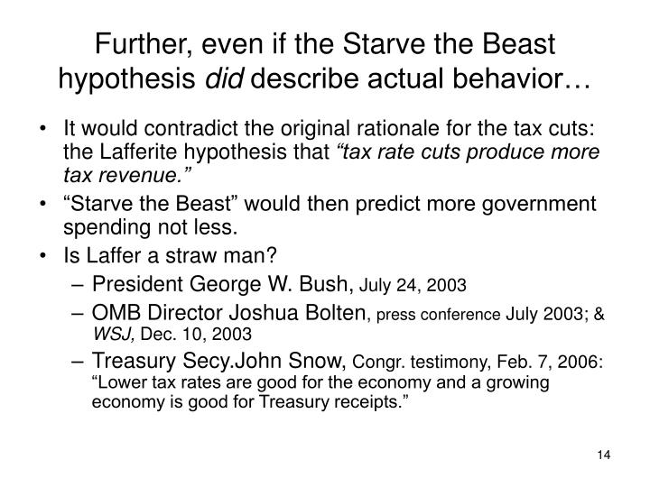 Further, even if the Starve the Beast hypothesis