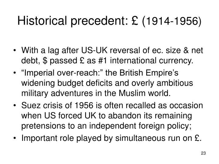 Historical precedent: £ (