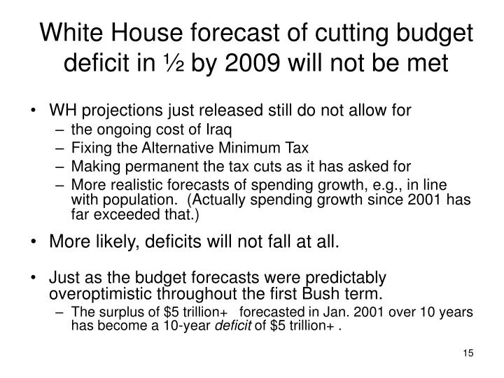 White House forecast of cutting budget deficit in ½ by 2009 will not be met