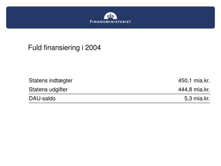 Fuld finansiering i 2004