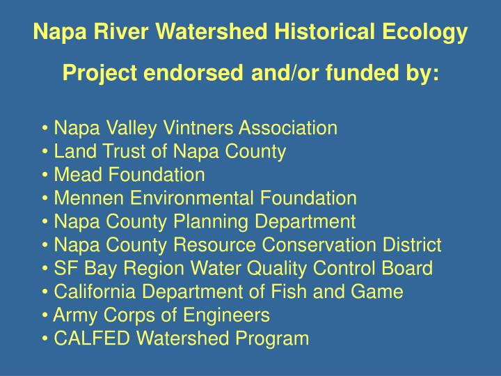 Napa River Watershed Historical Ecology Project endorsed