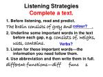 listening strategies complete a text