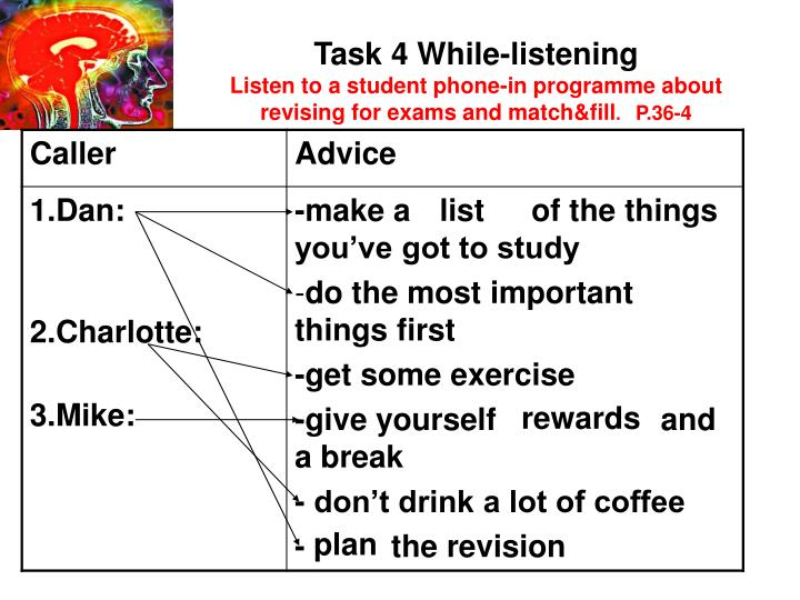 Task 4 While-listening