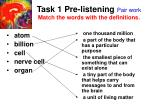task 1 pre listening pair work match the words with the definitions