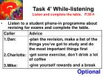 task 4 while listening listen and complete the table p 36 4
