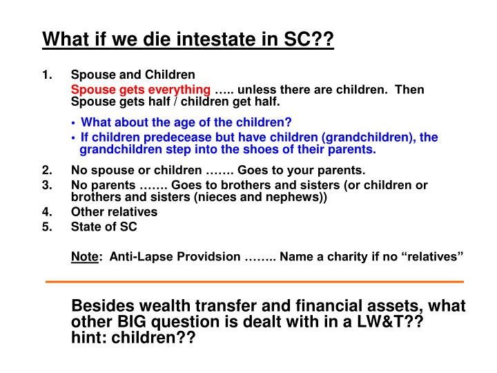What if we die intestate in SC??