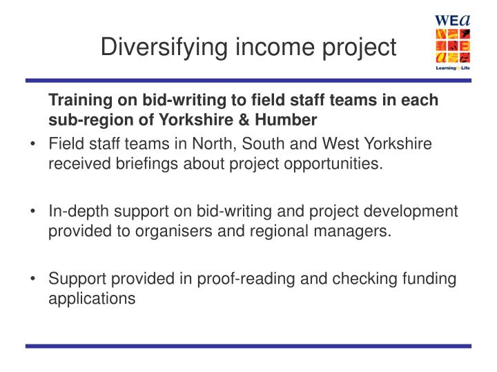 Diversifying income project