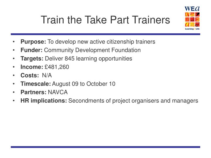 Train the Take Part Trainers
