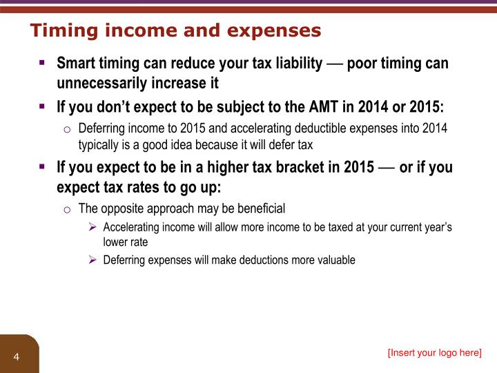 Timing income and expenses
