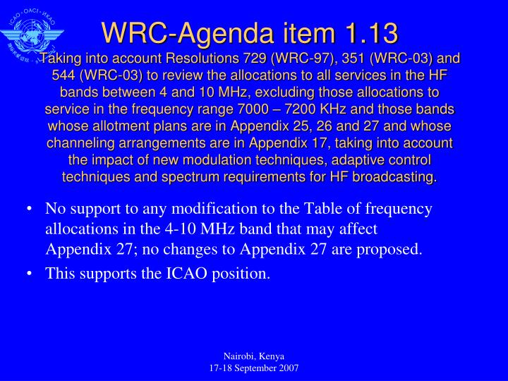 No support to any modification to the Table of frequency allocations in the 4-10 MHz band that may affect Appendix 27; no changes to Appendix 27 are proposed.