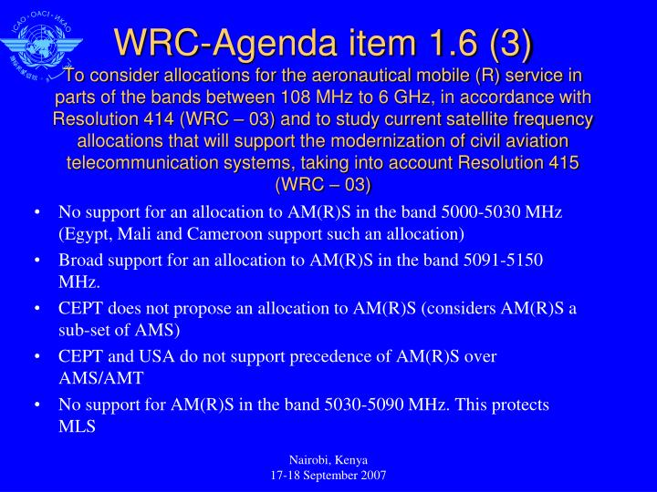 No support for an allocation to AM(R)S in the band 5000-5030 MHz (Egypt, Mali and Cameroon support such an allocation)