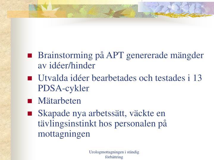 Brainstorming på APT genererade mängder av idéer/hinder