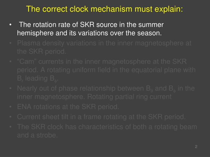 The correct clock mechanism must explain: