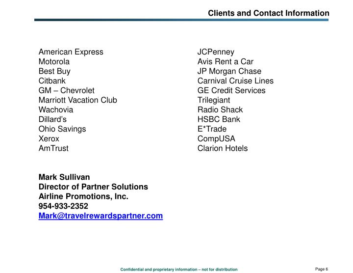 Clients and Contact Information