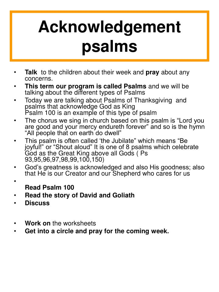 Acknowledgement psalms