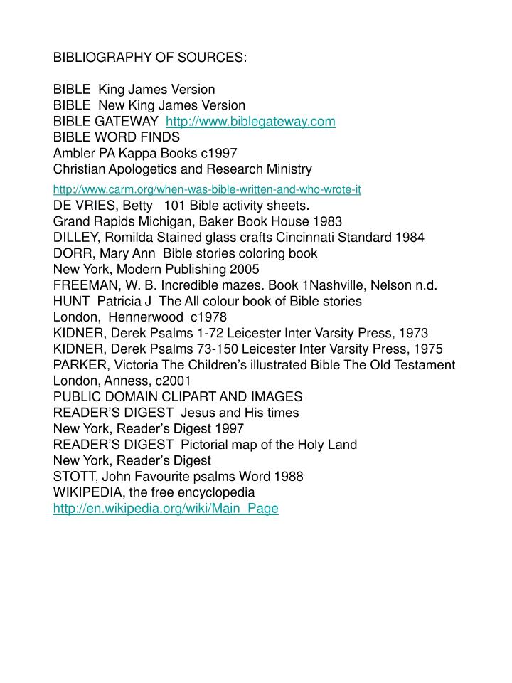 BIBLIOGRAPHY OF SOURCES: