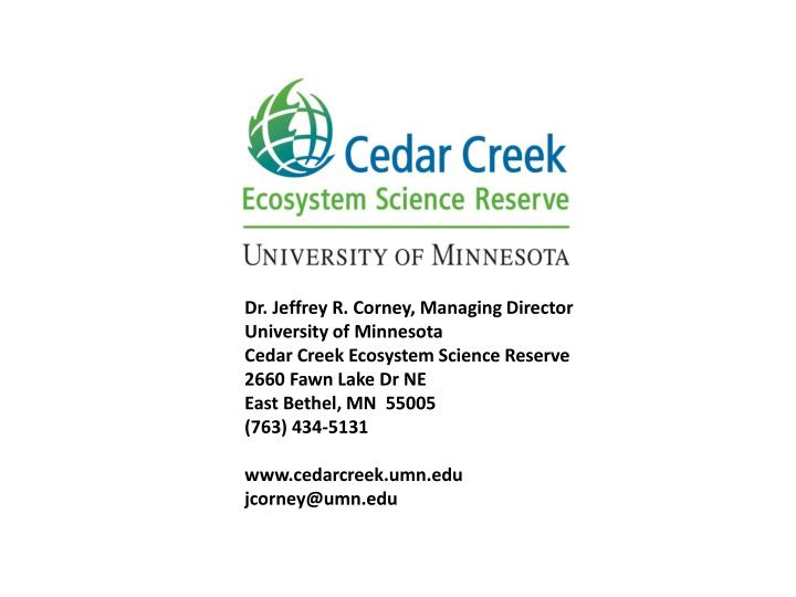 Dr. Jeffrey R. Corney, Managing Director