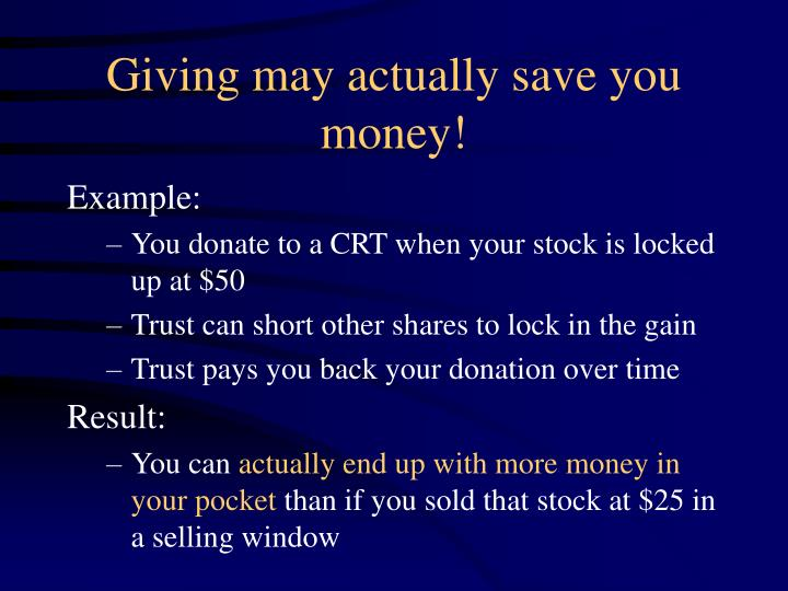Giving may actually save you money!