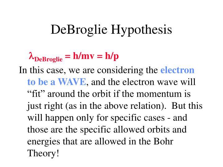 DeBroglie Hypothesis