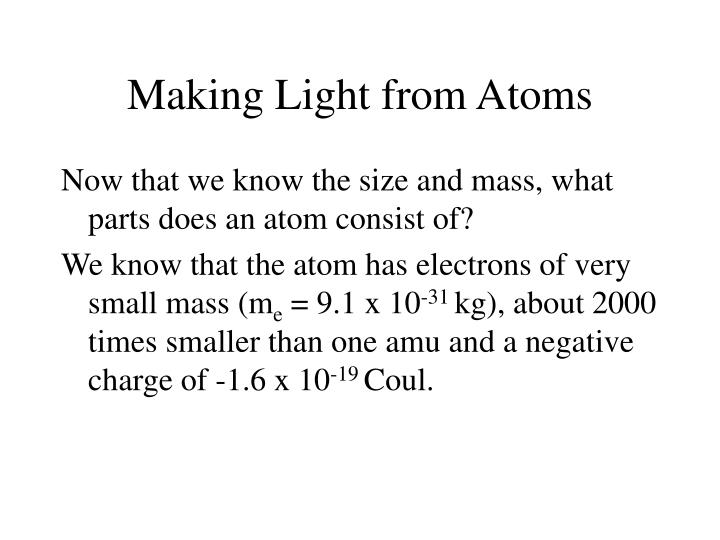 Making Light from Atoms