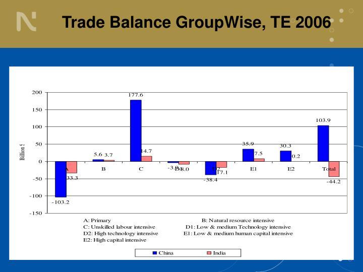 Trade Balance GroupWise, TE 2006
