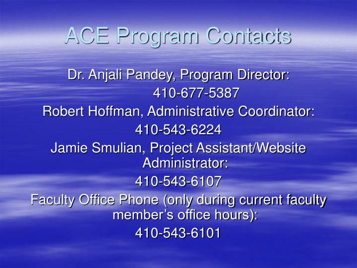 ACE Program Contacts