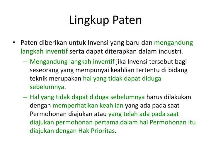 Lingkup Paten