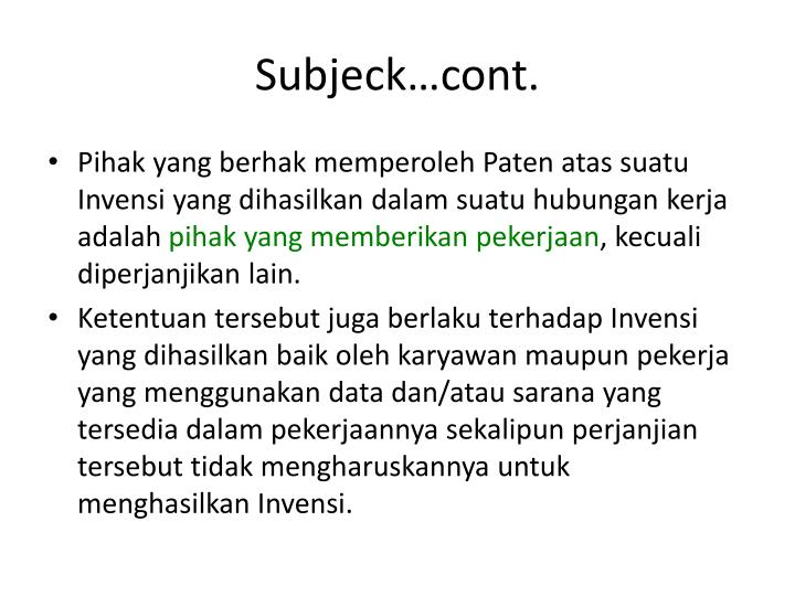 Subjeck…cont.