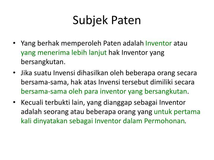 Subjek Paten