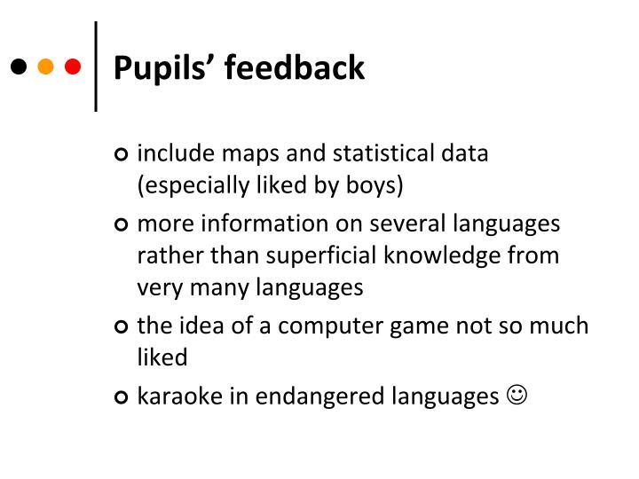 Pupils' feedback