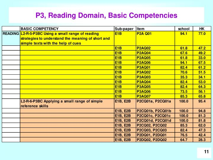 P3, Reading Domain, Basic Competencies