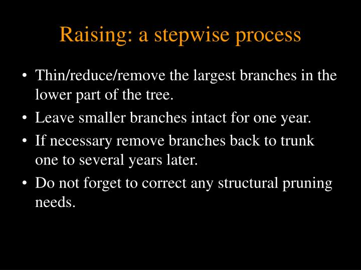 Raising: a stepwise process