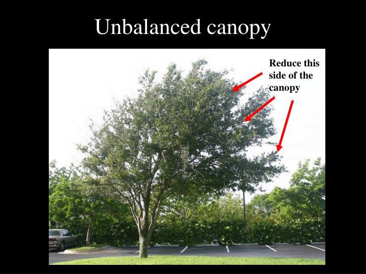Unbalanced canopy