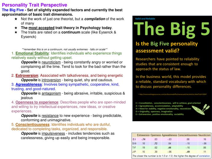 Personality Trait Perspective