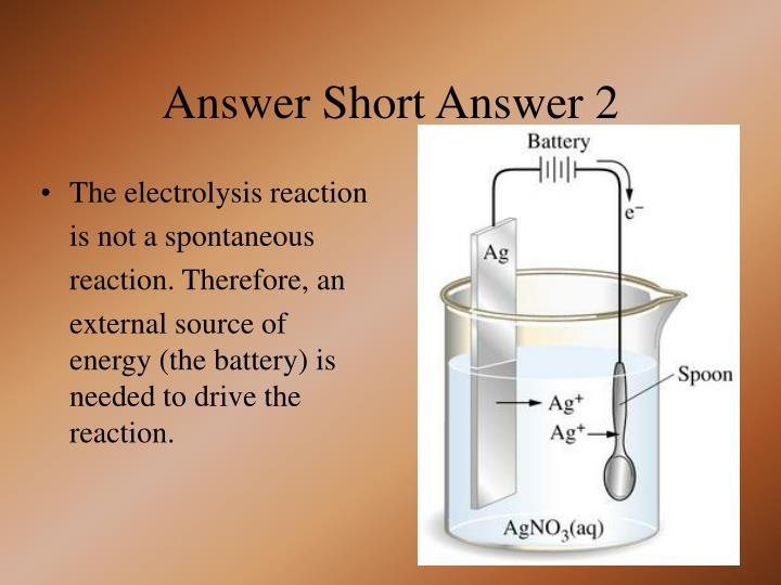 The electrolysis reaction