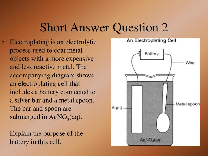Electroplating is an electrolytic process used to coat metal objects with a more expensive and less reactive metal. The accompanying diagram shows an electroplating cell that includes a battery connected to a silver bar and a metal spoon. The bar and spoon are submerged in AgNO
