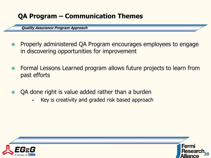 QA Program – Communication Themes