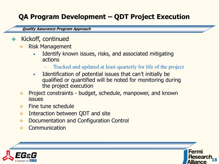QA Program Development – QDT Project Execution