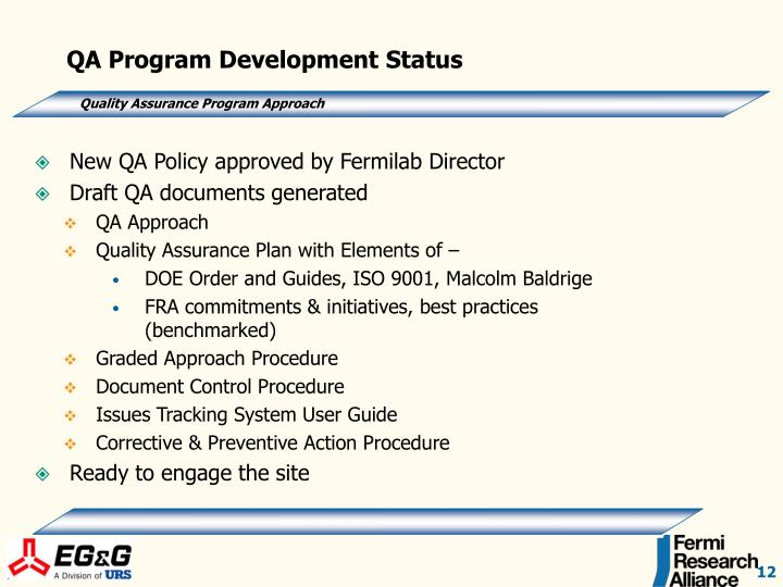 QA Program Development Status