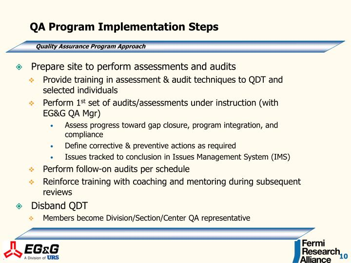 QA Program Implementation Steps
