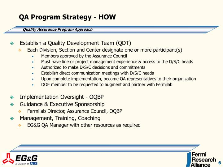 QA Program Strategy - HOW