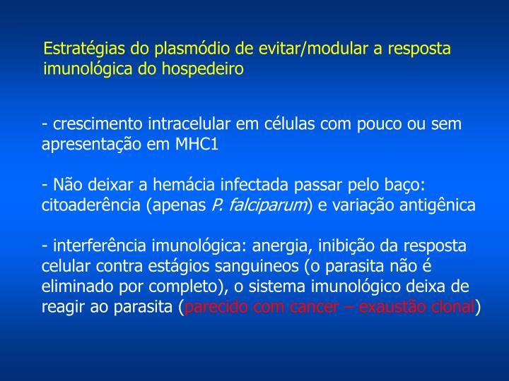 Estratégias do plasmódio de evitar/modular a resposta imunológica do hospedeiro